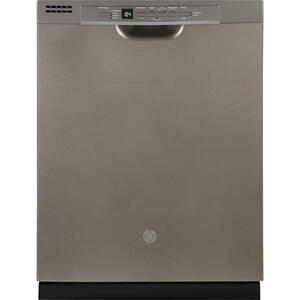 GE® Front Control with Plastic Interior Dishwasher with Sanitize Cycle & Dry Boost - FINGERPRINT RESISTANT SLATE
