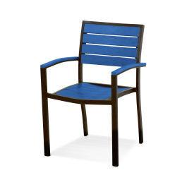 Polywood Furnishings - Eurou2122 Dining Arm Chair in Textured Bronze / Pacific Blue