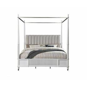 ACME Celestia California King Bed (Canopy) - 22114CK - Coastal - Fabric, Wood (Solid Poplar), Wood Veneer (Oak), Poly-Resin, MDF, Ply, PB - Fabric and Off White