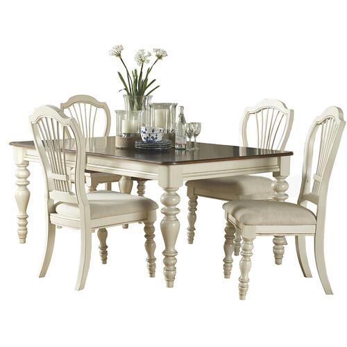 Pine Island 5pc Dining Set With Wheat Chairs - Old White