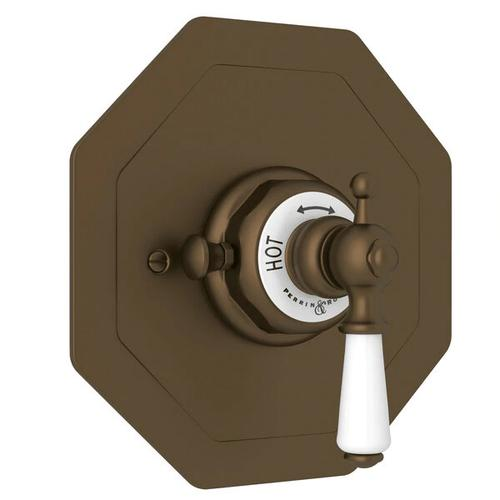 Edwardian Octagonal Concealed Thermostatic Trim without Volume Control - English Bronze with Metal Lever Handle