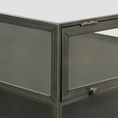 Gunmetal Finish Shadow Box Square Coffee Table