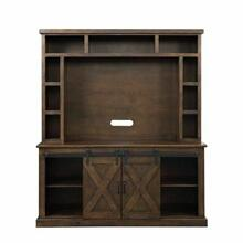 ACME Aksel Entertainment Center w/Fireplace - 91628 - Farmhouse - Wood (Pine), Wood Veneer (Pine), MDF, Metal Hardware - Walnut