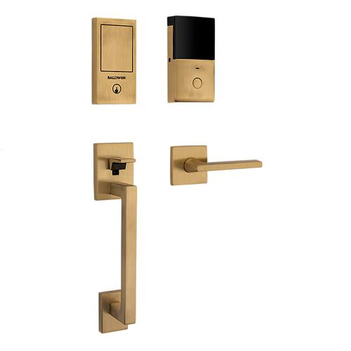 Satin Brass and Brown Minneapolis Touchscreen Dummy Handleset