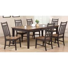 See Details - Rustic Two Tone Grey & Brown Dining Table and Chairs