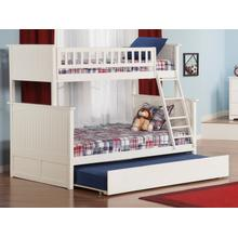 Nantucket Bunk Bed Twin over Full with Urban Trundle Bed in White