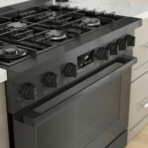 Bosch - 800 Series Dual Fuel Freestanding Range 36'' Black Stainless Steel HDS8645U
