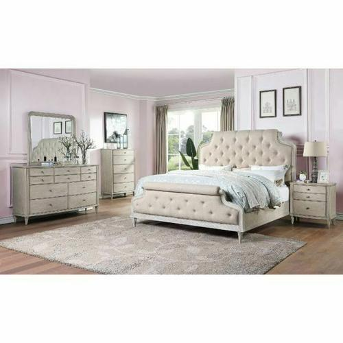 ACME Wynsor II Queen Bed - 27730Q - Transitional - Fabric, Wood (Pine/Poplar), Wood Veneer (Oak), MDF,PB - Fabric and White-Washed