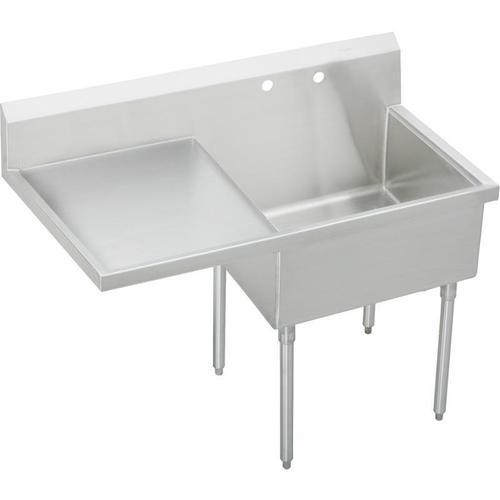 """Elkay Sturdibilt Stainless Steel 61-1/2"""" x 27-1/2"""" x 14"""" Floor Mount, Single Compartment Scullery Sink w/ Drainboard"""
