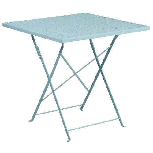 28'' Square Sky Blue Indoor-Outdoor Steel Folding Patio Table