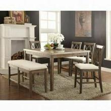 ACME Claudia Counter Height Table - 71720 - White Marble & Salvage Brown