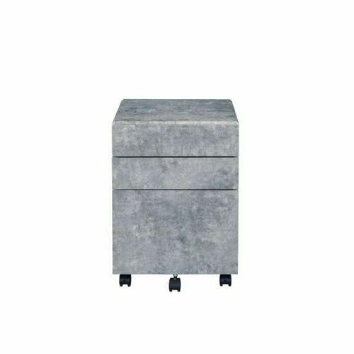 ACME Jurgen File Cabinet - 92909 - Industrial, Contemporary - Veneer (PVC), MDF, PB, Casters - Faux Concrete and Silver