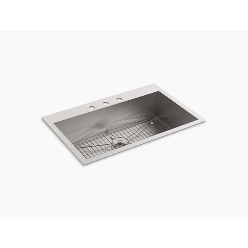 """33"""" X 22"""" X 9-5/16"""" Top-mount/undermount Large Single-bowl Kitchen Sink With 3 Faucet Holes"""