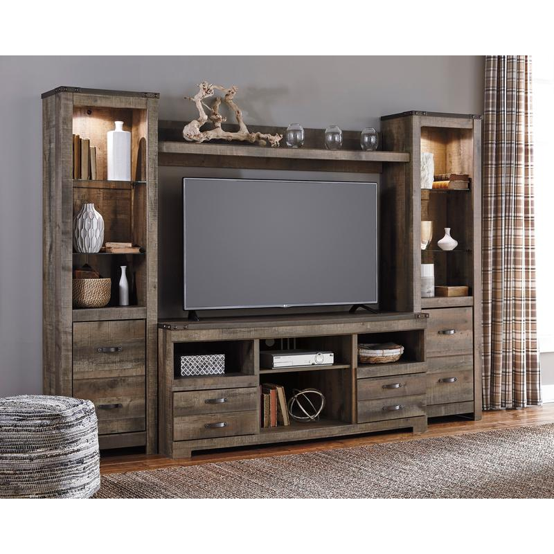 View Product - Trinell Brown 4 Piece Entertainment Center