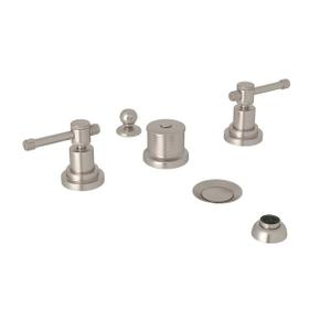 Campo Five Hole Bidet Faucet - Satin Nickel with Industrial Metal Lever Handle