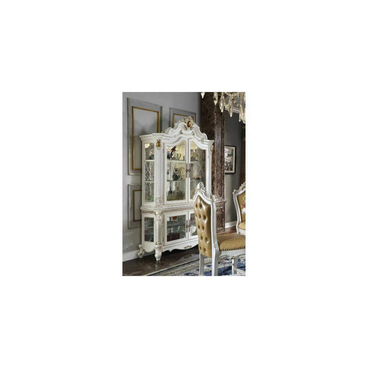 ACME Picardy Curio Cabinet - 78213 - Traditional, Vintage - Wood (Rbw), Wood Veneer (Cherry), Poly-Resin (Fiberglass), Glass, Mirror - Antique Pearl