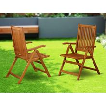 5 Position Outdoor-Furniture folding arm Chair made from Solid Acacia Wood -Set of two