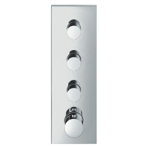 Brushed Nickel Thermostatic module 360/120 for concealed installation square for 3 functions