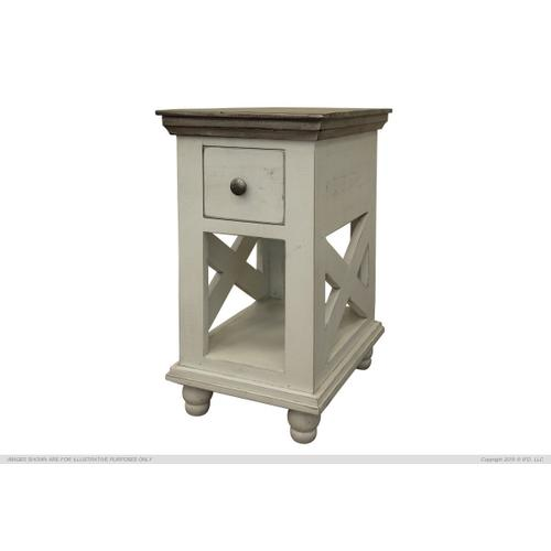 See Details - 1 Drawer, Chair Side Table, Ivory finish
