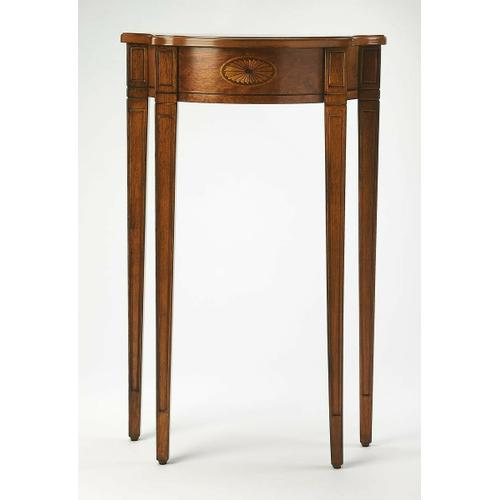 Butler Specialty Company - This Pembroke-inspired console is highly elegant, yet unpretentious. Ideal for small spaces - in a hallway, foyer or entryway - it is crafted from rubberwood solids and wood products featuring beautiful curves with a cherry veneer top, linen-fold inlay patterns of maple and walnut veneers on both the top and apron front, all in an inviting Olive Ash Burl finish.
