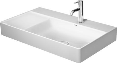 Durasquare Furniture Washbasin Asymmetric 2 Faucet Holes Pre-marked With Large Distance Between Faucets