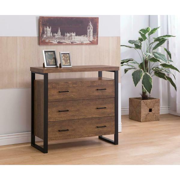 See Details - Rustic Amber Three-drawer Accent Cabinet