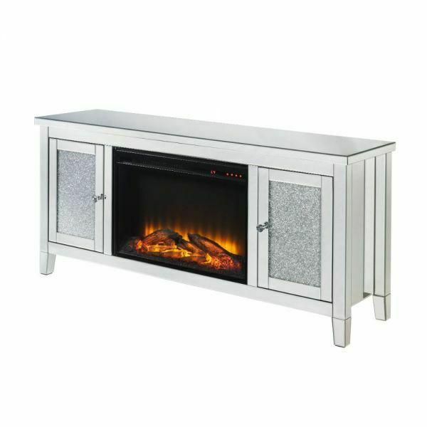 ACME Noralie TV Stand w/Fireplace (LED) - 91770 - Glam - Electric Fireplace (LED), Mirror, Glass, MDF, Faux Diamonds (Acrylic) - Mirrored and Faux Diamonds