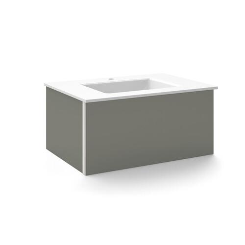"V14 30-1/4"" X 14"" X 21"" Wall-mount Vanity In Tinted Gray Mirror With Slow-close Plumbing Drawer and 31"" Stone Vanity Top In Quartz White With Center Mount Sink and Single Faucet Hole"