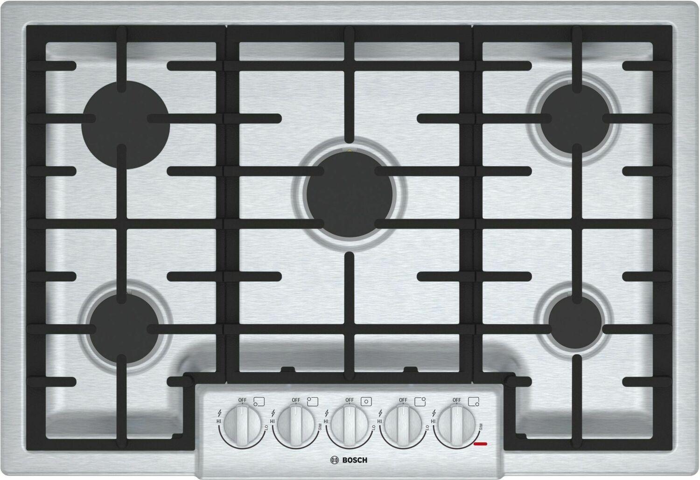 "Bosch800 Series, 30"" Gas Cooktop, 5 Burners, Stainless Steel"