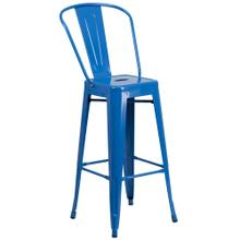 See Details - 30'' High Blue Metal Indoor-Outdoor Barstool with Back
