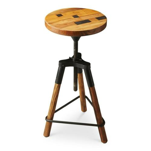 This delightful industrial-look barstool revolves and adjusts to the desired height, making it an ideal seat for all sizes and tables. With a recycled wood seat, its three-legged post design ensures stability and iron triangle base serves as a convenient foot-rest. Crafted entirely from iron and recycled wood solids.