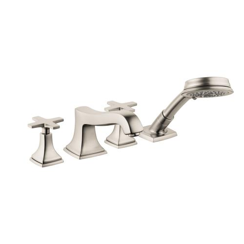 Brushed Nickel 4-Hole Roman Tub Set Trim with Cross Handles and 1.8 GPM Handshower