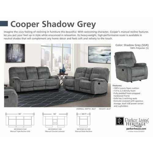 Parker House - COOPER - SHADOW GREY Manual Reclining Collection