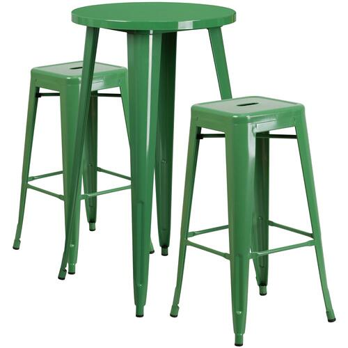24'' Round Green Metal Indoor-Outdoor Bar Table Set with 2 Square Seat Backless Stools