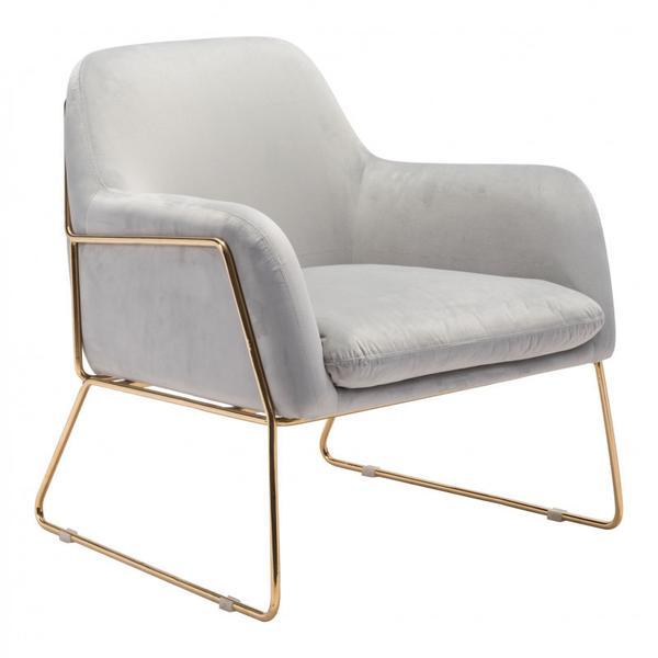Nadir Arm Chair Gray & Gold
