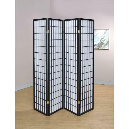 See Details - Transitional Black Four-panel Screen