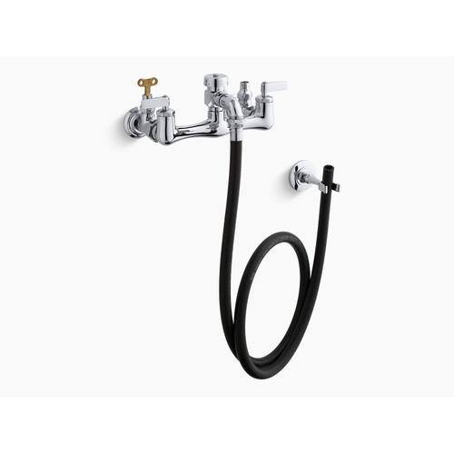 Polished Chrome Double Lever Handle Service Sink Faucet With Loose-key Stops, Rubber Hose, Wall Hook and Lever Handles