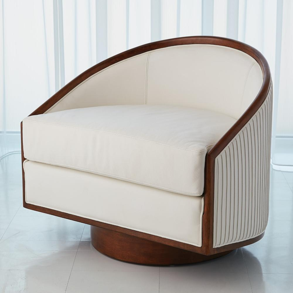 See Details - Swivel Chair-White Leather