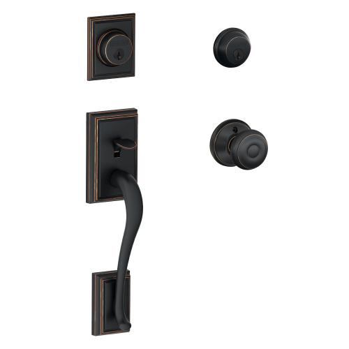 Addison Double Cylinder Handleset and Georgian Knob - Aged Bronze