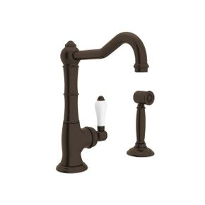Cinquanta Single Hole Column Spout Bar and Food Prep Faucet with Sidespray - Tuscan Brass with White Porcelain Lever Handle