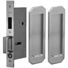 Pair Dummy Pocket Door Lock with Traditional Rectangular Trim featuring Mortise Edge Pull in (US26D Satin Chrome Plated)