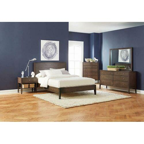Lompoc Mid-century Modern Brown Walnut Queen Bed