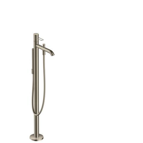 Brushed Nickel Single lever bath mixer floor-standing with loop handle