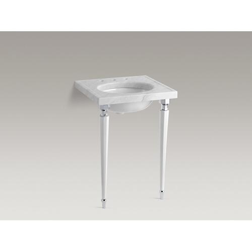 White Octagonal Fireclay/polished Chrome Tapered Brass Table Legs