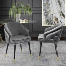 View Product - Modrest Elliot - Contemporary Grey & Black/Gold Dining Chair (Set of 2)