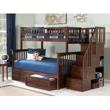 View Product - Columbia Staircase Bunk Bed Twin over Full with Raised Panel Bed Drawers in Walnut