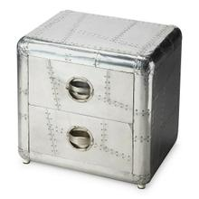 Crafted from polished and riveting aluminum, this bold Chairside Chest provides two drawers for substantial storage. It shimmers for sure a brightest spot that absolutely will not be ignored.