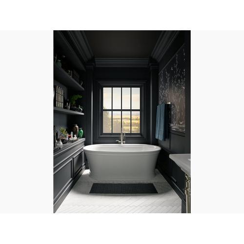 "White 60"" X 34"" Freestanding Bath With Center Toe-tap Drain"