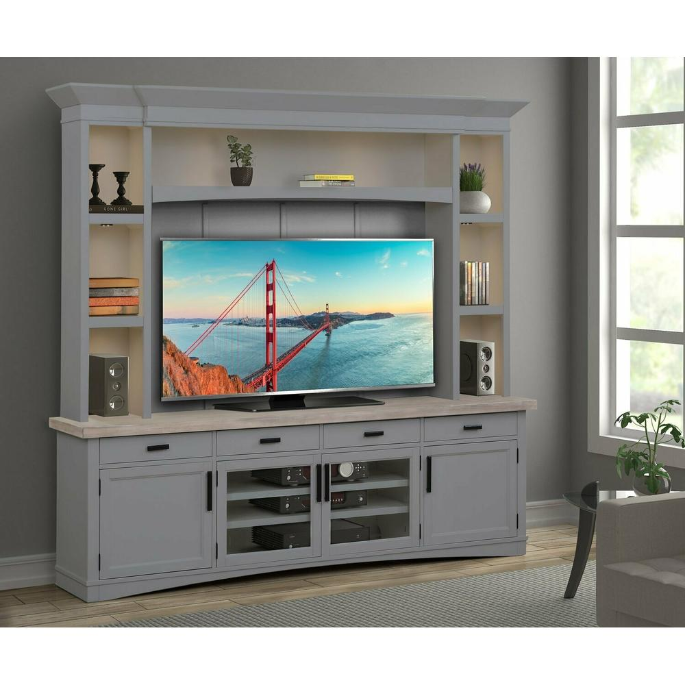 AMERICANA MODERN - DOVE 92 in. TV Console with Hutch, Backpanel and LED Lights