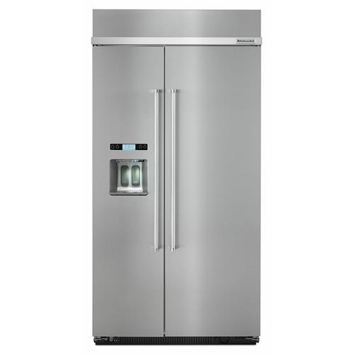 KitchenAid - 25.0 cu. ft 42-Inch Width Built-In Side by Side Refrigerator - Stainless Steel